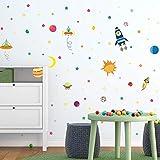 Walplus Autoadhesivo Adhesivos de Pared Cuarto de Estar para Niños y Niñas Infantil Pared Adhesivo Decoración Hogar Vinilo Cocina Frase Mural Artístico Misterio Galaxy