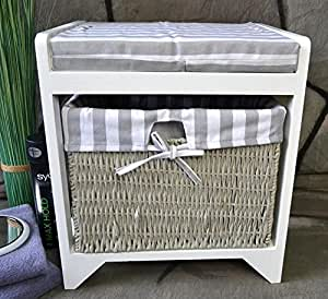 livitat badhocker hocker sitzhocker korb badezimmerhocker w schekorb landhaus lv1010. Black Bedroom Furniture Sets. Home Design Ideas