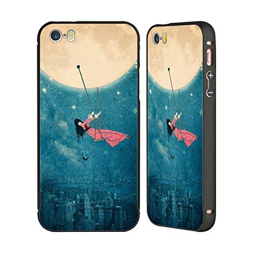 Ufficiale Paula Belle Flores Una Notte A Parigi Luna Nero Cover Contorno con Bumper in Alluminio per Apple iPhone 5 / 5s / SE Swing