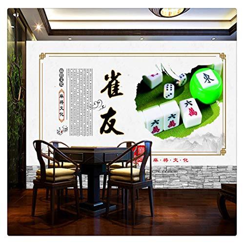 Tapeten Fototapete Benutzerdefinierte Traditionelle Mahjong Kultur Schachzimmer Unterhaltung Workwear Retro Nostalgic Casino Video Play Wall A, 350Cmx245Cm