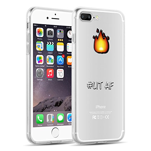 Cover iPhone 8 Plus Cover iPhone 7 Plus, JAMMYLIZARD [Sketch] Custodia in Silicone Trasparente Semi Morbido Ultra Slim con Disegno per Apple iPhone 8 Plus e Apple iPhone 7 Plus, CARTOON 7 LIT AF
