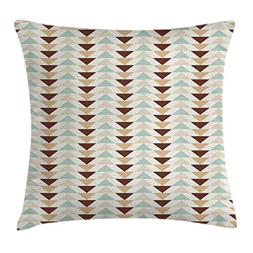 ZTLKFL Abstract Throw Pillow Cushion Cover, Cut Chevron Pattern on Horizontal Stripes Triangles in Pastel Colors, Decorative Square Accent Pillow Case, 18 X 18 Inches, Brown White Baby Blue