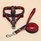 Hundebox zurück, Cowboy Brustgeschirr Hund Traktion Kragen Set Hund Seil Haustier liefert (Color : Red, Size : M)