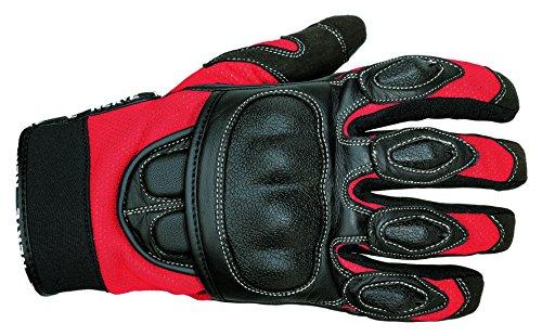 NERVE 1513120201_04 Guanti Estive Protettivo Sporty per Moto Scooter, Nero/Rosso, L/10