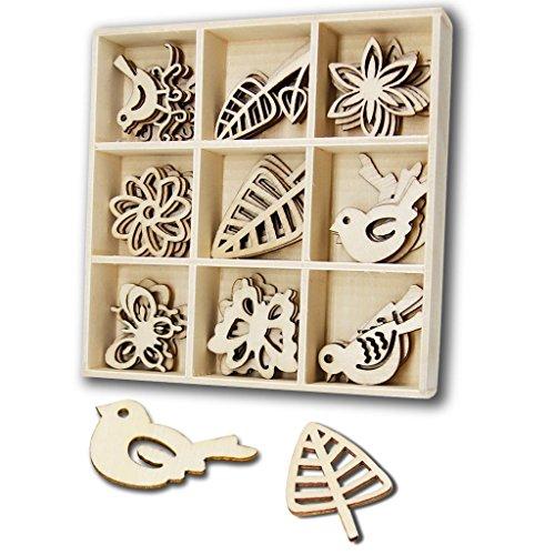 JHYQ-DE 45 PCS hölzern Verzierungen Sets,Scrapbooking,holzherzen Holz Box für Handwerk Dekoration(Blatt,Blumen,Schmetterlings,Voge,Formen)