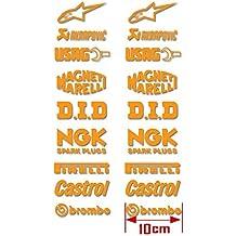 PEGATINAS AM14 STICKERS SPONSORS SUPERBIKE CASTROL NGK BREMBO SBK DID VINILO ADESIVI DECAL MOTO GP ROSSI LORENZO (NARANJA)