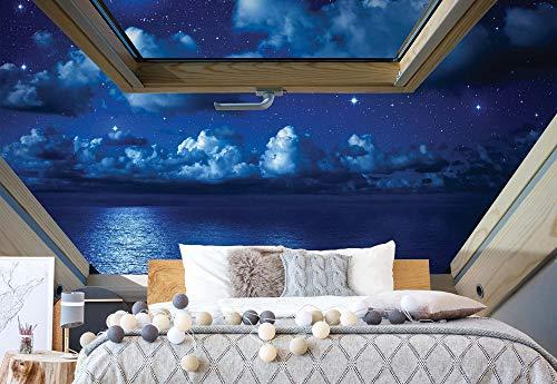 fototapete dachfenster Dreamy Nachthimmel 3D-Dachfenster-Ansicht Vlies Fototapete Fotomural - Wandbild - Tapete - 208cm x 146cm / 2 Teilig - Gedrückt auf 130gsm Vlies - 10409VEXL - Himmel & Wolken