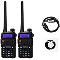 Baofeng UV-5RTP 136-174/400-520MHz Tri-Power 1/4/8W Jamón Radio de Dos Vías Walkie Talkie Two Way Radio, Negro … (2 * Radio + 1 * Cable de Programación)