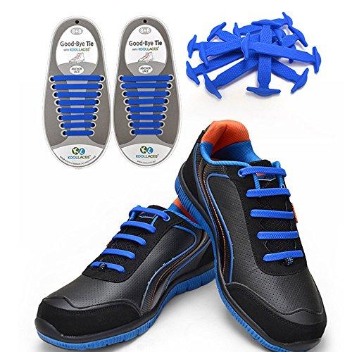 MX Colorful Nein Schuhe binden f眉r Kinder und Erwachsene鈥�wasserdicht Silikon Schn眉rsenkel Blau