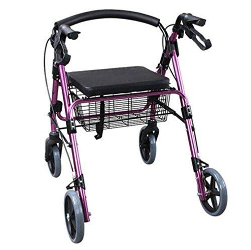 Andador de acero inoxidable rosa colores Walker plegable con ruedas (4ruedas–Andador (con asiento y cesta