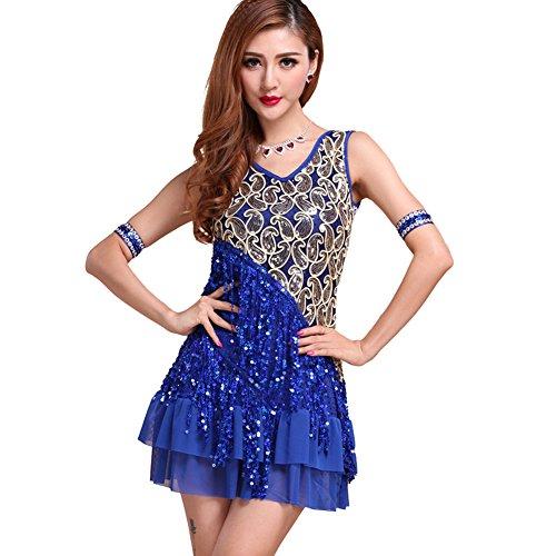ESHOO Femme Latin Tango Salsa Cha Cha Ballroom Robe avec Paillette Vêtements de Danse Bleu