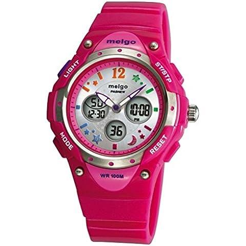 PIXNOR PASNEW PSE-2001AD Wateproof doble tiempo pantalla LED Digital Analógico deportivo reloj de pulsera (Rosado)