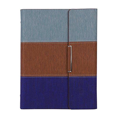 Mehrfarbiges A5 Notizbuch mit Magnetschnalle Kunstleder Bezug Hardcover Notizblock mit 200 Seiten Tagebuch für Business Büro Reise Konferenz Notizheft Schreibblock Büroheft Grau&Braun&Blau