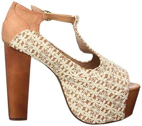 Jeffrey Campbell Foxy Crochet, Chaussures à Talons à Bout Ouvert Femme Beige