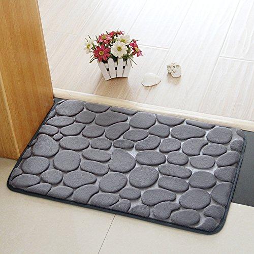 Alfombras de baño, Chickwin Franela Antideslizante Alfombra de baño de cómoda Alfombra de baño Alfombra de ducha suave super absorbent (50*80 cm, Gris)