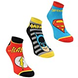 3 pares de calcetines con diseños de superhéroes de Marvel, Spiderman, Hulk, Capitán América, Iron Man DC Comics Ankle Socks 3 Pairs 41-45 Hombre