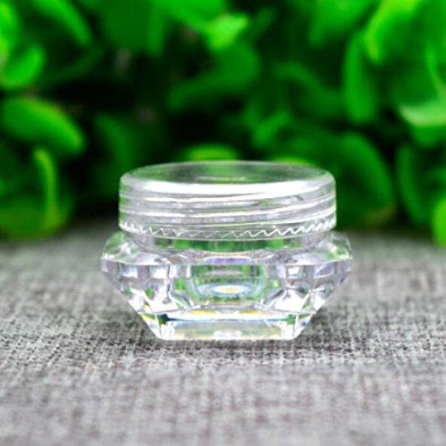Lot de 12 2 G/3G/5G (2ml/3ml/5ml) Transparent vide rechargeable Voyage Forme de Diamant carré Plastique Cosmétique Pots échantillons de conteneurs avec bouchon à visser Maquillage Crème pour le visage Baume à lèvres Fard à paupières Boîte de rangement
