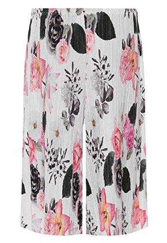 Top Fashion Damen Übergröße Blumendruck Damen Elastischer Bund Krepp Culottes Pant Palazzo EU Größe 42-56 Blumen Weiß