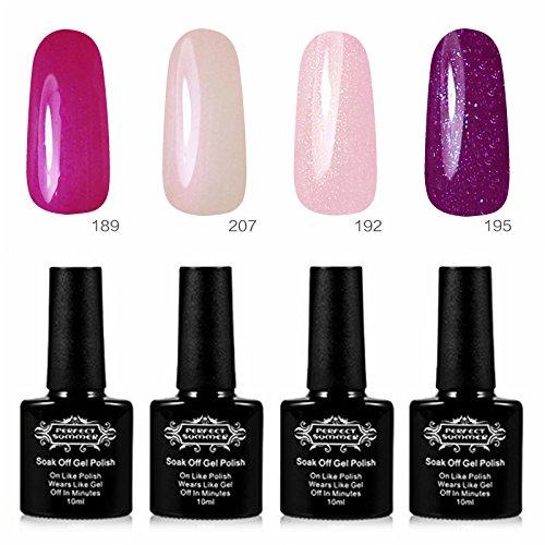 Perfect Summer Lot Vernis à Ongles Semi Permanent UV LED Soak Off Nail Art Manucure Kit #04 (10mlX4PCS)