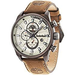 Timberland Men's Quartz Watch with Beige Dial Analogue Display and Dark Brown Leather Strap 14816JLBN/07