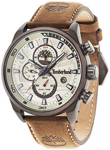Timberland 14816JLBN/07 Men's Quartz Watch with Beige Dial Analogue Display and Dark Brown Leather Strap