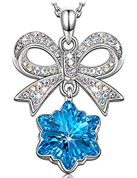 Kate Lynn Halskette mit Anhänger Schneeflocke Aquamarin Swarovski-Kristalle