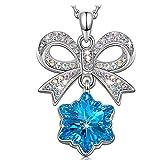 KATE LYNN Frohe Weihnachten Halskette Damen Anhänger Schneeflocke Blau Kristall SWAROVSKI Weihnachtsgeschenk Geburtstag