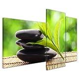 Kunstdruck - Zen Steine V - Bild auf Leinwand - 130x80 cm 3 teilig - Leinwandbilder - Bilder als Leinwanddruck - Geist & Seele - Asien - Wellness