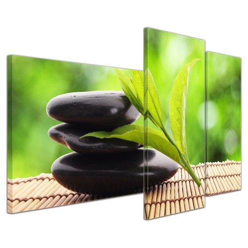 Wandbild - Zen Steine V - Bild auf Leinwand - 130x80 cm 3 teilig - Leinwandbilder - Bilder als Leinwanddruck - Geist & Seele - Asien - Wellness - Harmonie Blättern