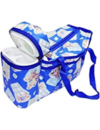 Chhote Saheb Multi Purpose Baby Diaper Mother Bag With 2 Bottle Holders - Keep Baby Bottles Warm - Assorted Prints...
