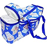 Ineffable Multi Purpose Baby Diaper Mother Bag With 2 Bottle Holders - Keep Baby Bottles Warm - Assorted Prints (Sky Blue)