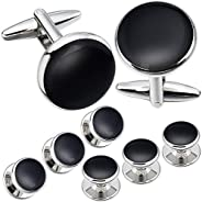 Classic Cufflinks and Studs Set for Men Tuxedo Shirt Silver Round Shape in Gift Box Formal Business Wedding An