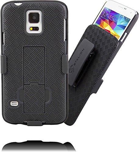 Galaxy S5Holster: Stalion Secure Shell Fall & Gürtelclip Combo mit Ständer (Jet Schwarz) 180° Grad Drehbar Sperren Drehgelenk + Stoßfest Schutz Verizon Samsung Jet