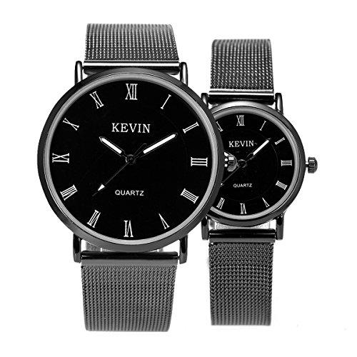Armbanduhr Zum Valentinstag minimalistisch Mesh Edelstahl SIBOSUN Paar römische Ziffern