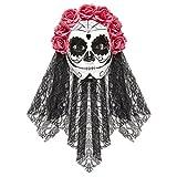 Amakando Halloween Gesichtsmaske mit Schleier und Rosen Dia de los Muertos Maske Mexikanische Totenmaske Tag der Toten Totenkopfmaske La Catrina Kostüm Accessoire Sugar Skull Todesmaske