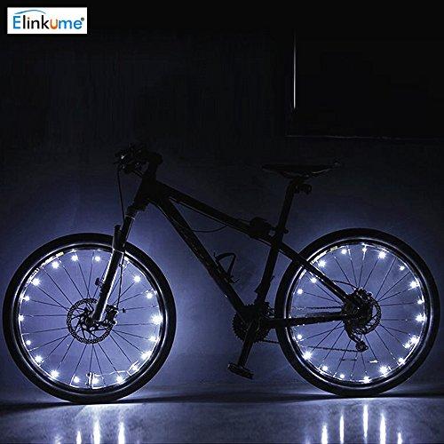 ELINKUME 20 LED Motorrad Fahrrad Fahrradreifen Fahrrad Rad Signal Licht sprach mehrere Farben gewählt werden (weiß)
