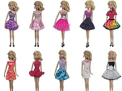 Fashion 5er Packung Urlaubstag Kleidung Kleider Outfit mit 5 Paar Schuhen für Barbie Puppen Doll Weihnachten Geschenk
