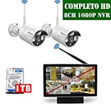 【2019 Neu】 WLAN Überwachungskamera System Set, 10 Zoll Bildschirm CCTV 8 Kanal 1080P NVR Überwachungssystem Mit 2 1080P Kabellos Außen Überwachungskameras mit Bewegungsmelder, 1TB Festplatte