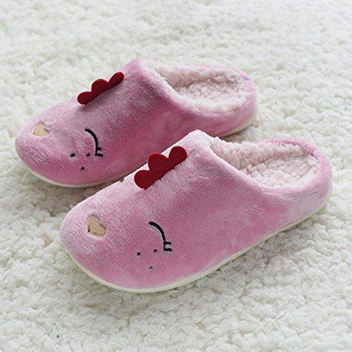 DogHaccd pantofole,Giorno è incantevole coppie home pantofole inverno new anti-slittamento cartoon impermeabile pulcini pantofole di cotone felpato caldo Rosa scuro2