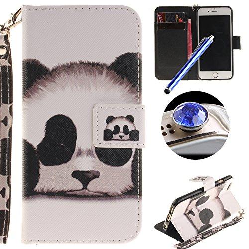 Etsue pour iPhone 6 Plus,6S Plus Coque de téléphone Mobile ,Folio Book Style Housse Fermeture Aimanté Mode Retro Motif [ élégante Fleur Pourpre ] pour iPhone 6 Plus,6S Plus,Flip PU Leather Walllet Cas Panda