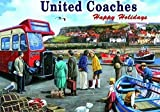 United BUSSE,. Happy Holidays zu 1960's Whitby Sea Side. Booten in Hafen und rot Single Deck Bus. Für Haus, Home, Garage, Shop oder Pub. Metall/Stahl Wandschild, stahl, 20 x 30 cm
