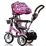 Bici per bambini Guo shop- Triciclo per bambini Triciclo per bambini 1-3-6 anni Bambini Pieghevole 3-Foaming-Wheel Passeggino Sedile girevole (Colore : Color a)