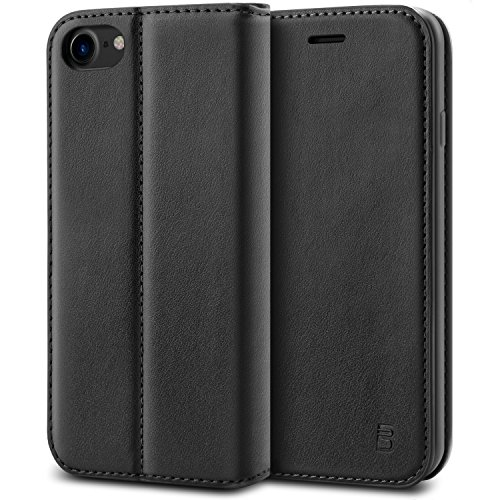 Leder Ähnliches Material (BEZ® Hülle für iPhone 7 Hülle, Handyhülle Kompatibel für iPhone 7, iPhone 8 Tasche, Case klappbar aus Klappetui mit Kreditkartenhaltern, Ständer, Magnetverschluss - Schwarz)