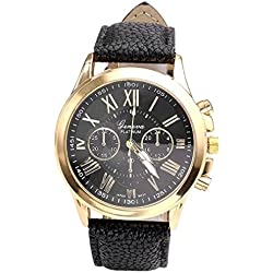 WINWINTOM Women's Geneva Roman Faux Leather Wrist Watch Black