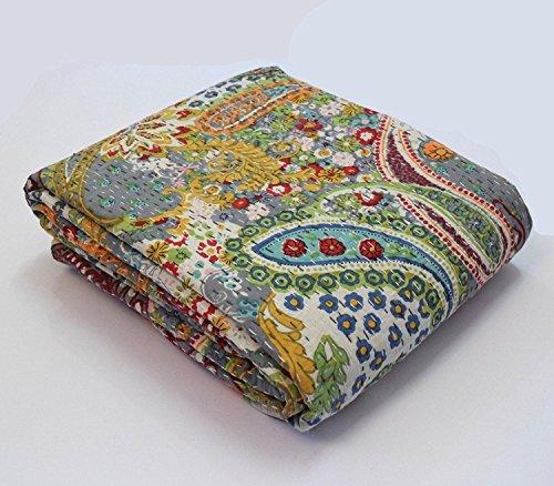 Sophia Art Indian Handmade Paisley Print King Size Kantha Quilt, Kantha Blanket, Bed Cover, King Kantha bedspread, Bohemian Bedding Kantha Size 90 Inch x 108 Inch (Grey)