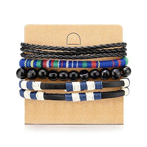 4 Wickeln Strap Schwarz Blau Armband Herren Damen, Multi-Strang Perlen Holz Armband, Lederarmband Baumwolle Schweissband