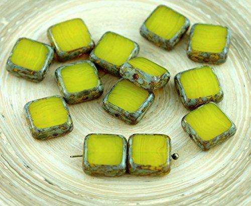 Amber Glas Schneiden (Picasso-Braun, Bernstein-Gelb Opal-Tabelle Cut-Rustikale Eckige Flache Tschechische Glas-Perlen 10mm 10er)
