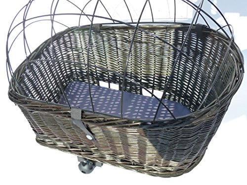 Tigana - Hundefahrradkorb für Gepäckträger aus Weide 60 x 39 cm mit Metallgitter + Kissen Tierkorb Hinterradkorb Hundekorb für Fahrrad - SCHWARZ -
