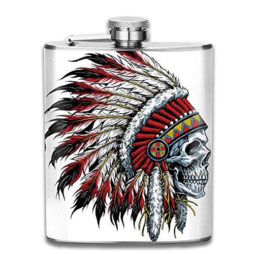 FGRYGF Edelstahlflasche, Whiskey Flask Vodka Alcohol Flask America's Original Motorcycle Indian Skull Portable Pocket Bottle, Bag Bottle, Camping Wine Bottle, Suitable for Men and Women 7oz