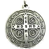 GTBITALY 60.050.30 medaglia di San Benedetto Argento Misura 48 mm con Anello prete esorcismo Suora Chiesa sacerdote Santo